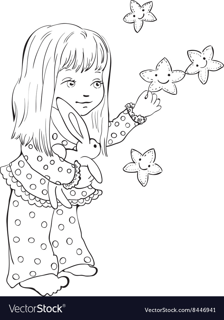 Cute little girl with funny stars Digital stamp