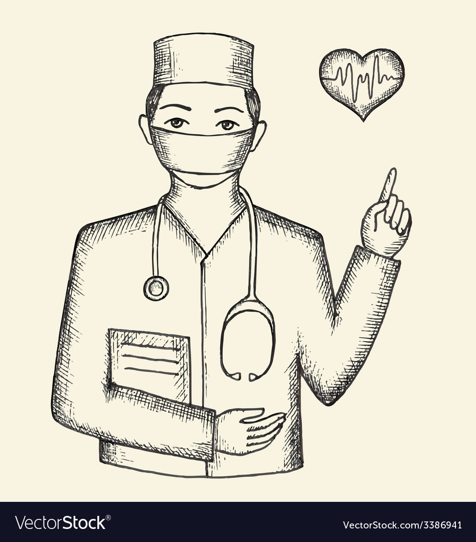 Drawing From The Hands Of The Doctor And Hearts Vector Image