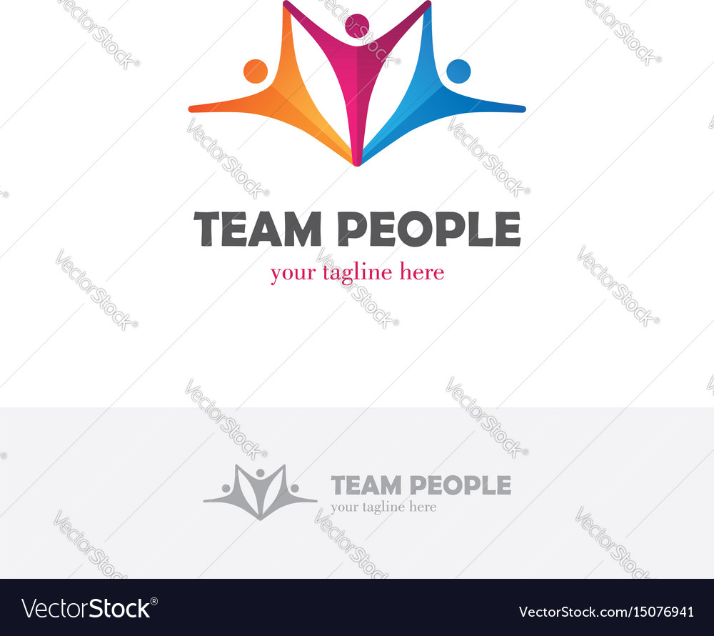Elegant colorful logo with three abstract human