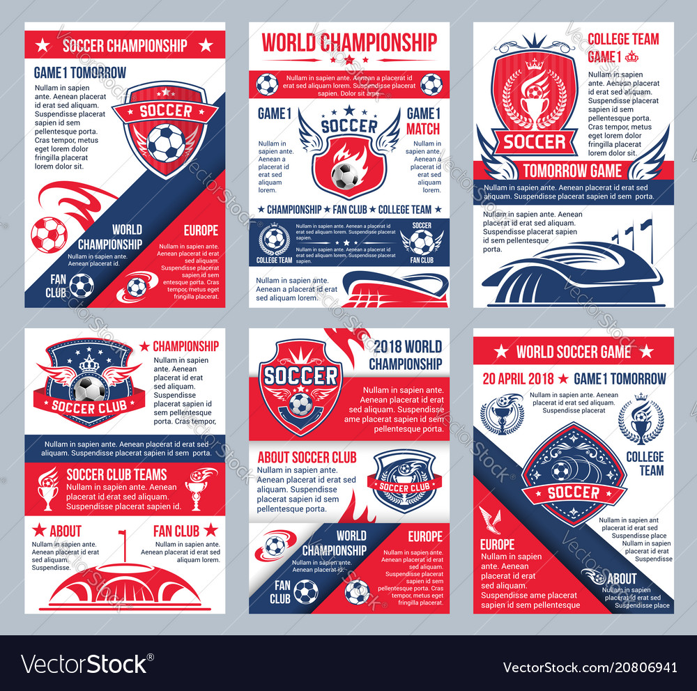 Football soccer championship posters vector image