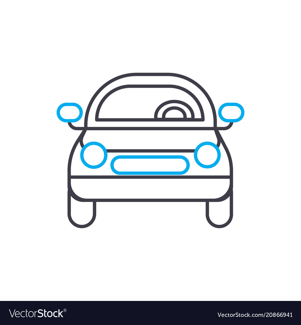 Front of the car thin line stroke icon