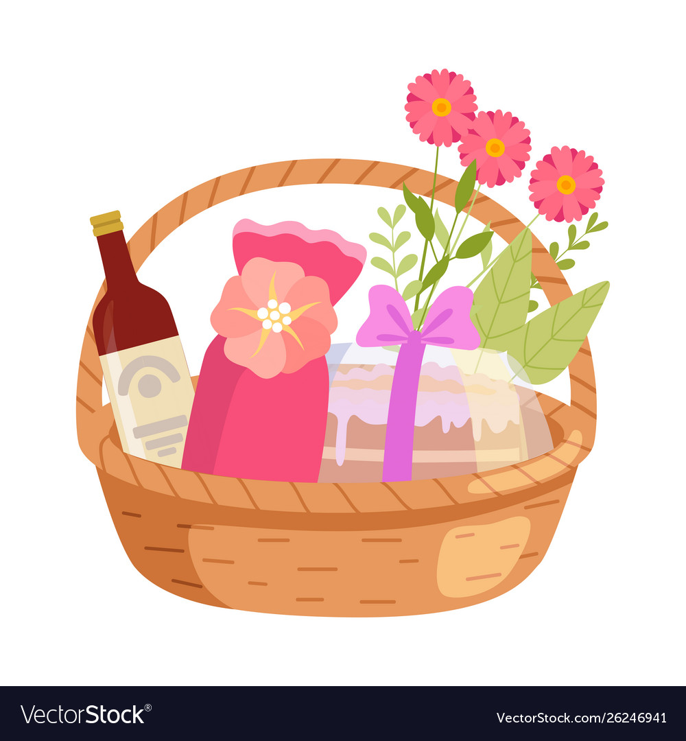 Holiday present basket full gifts flowers and