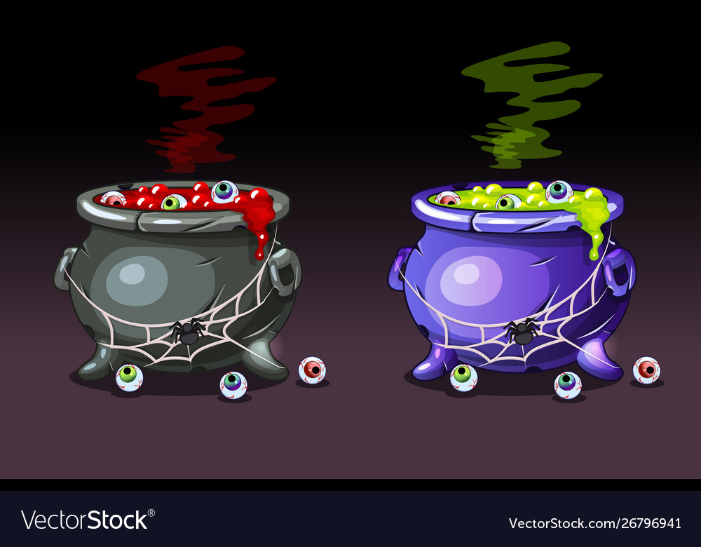 Magic potion with eyes happy halloween witches