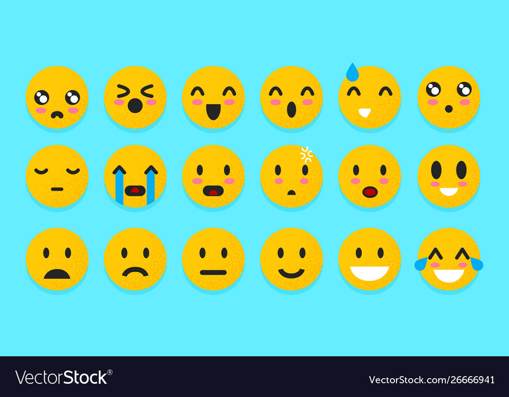 Set yellow emoticons isolated smile face