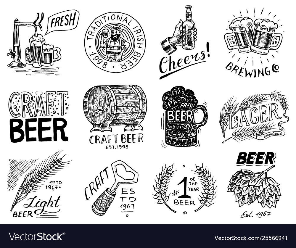 Vintage beer badge set alcoholic label with