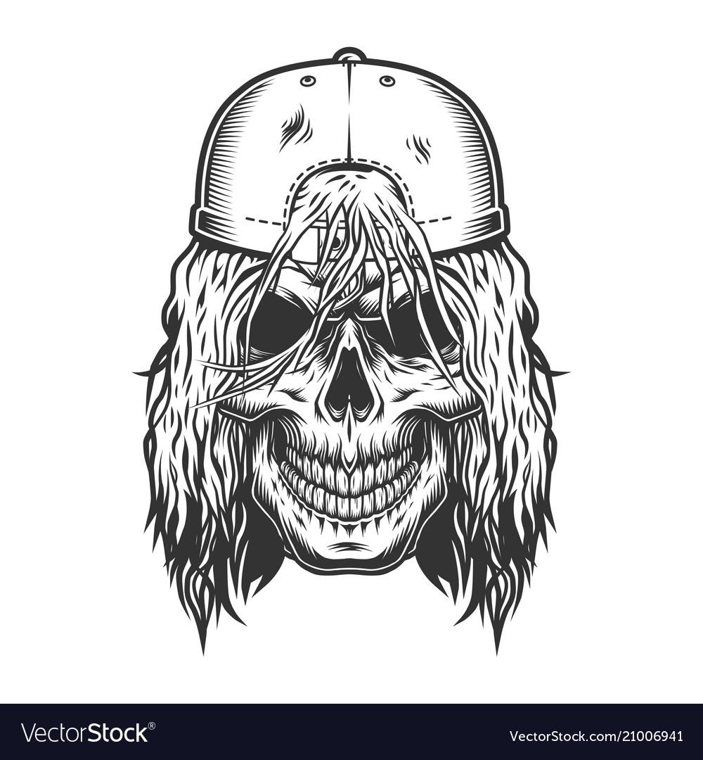 Vintage skull skateboarder template