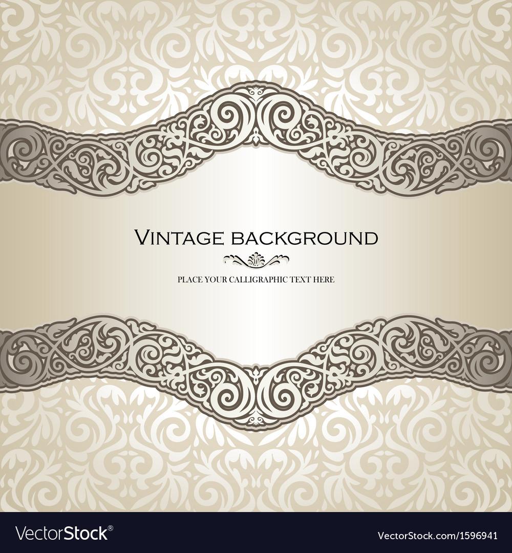 Vintage Style Cream Invitation Card Royalty Free Vector
