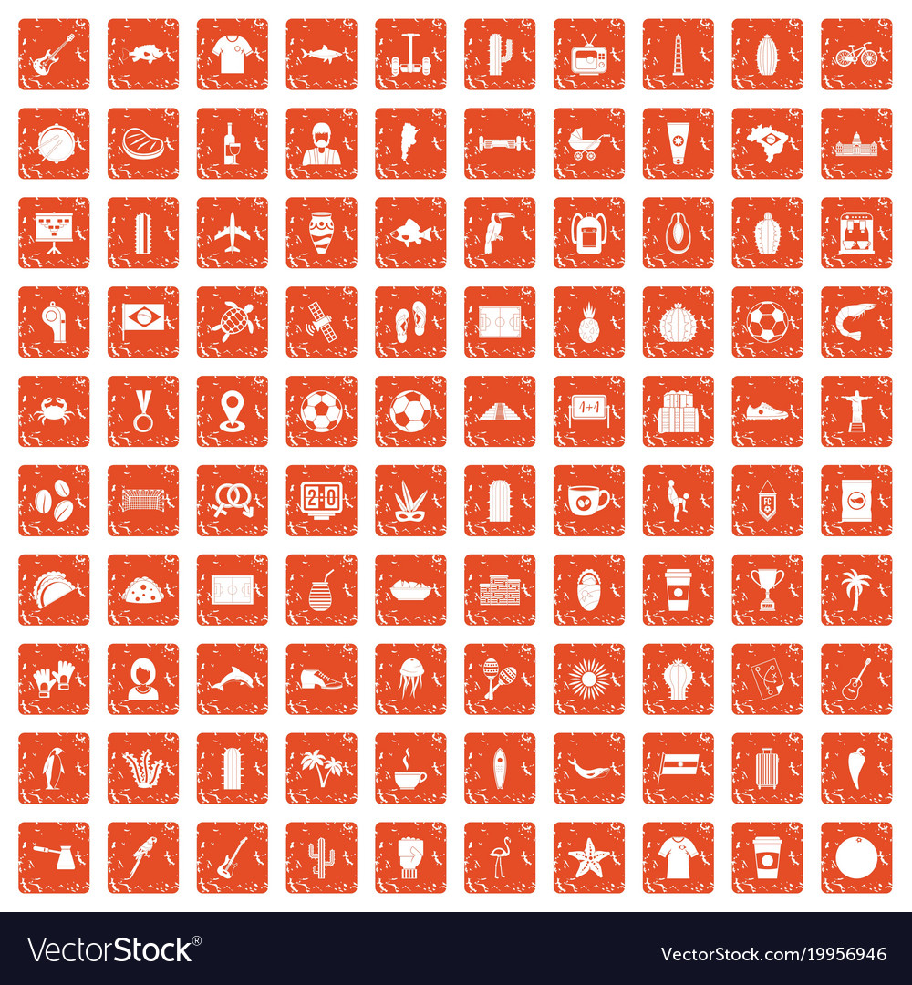 100 south america icons set grunge orange