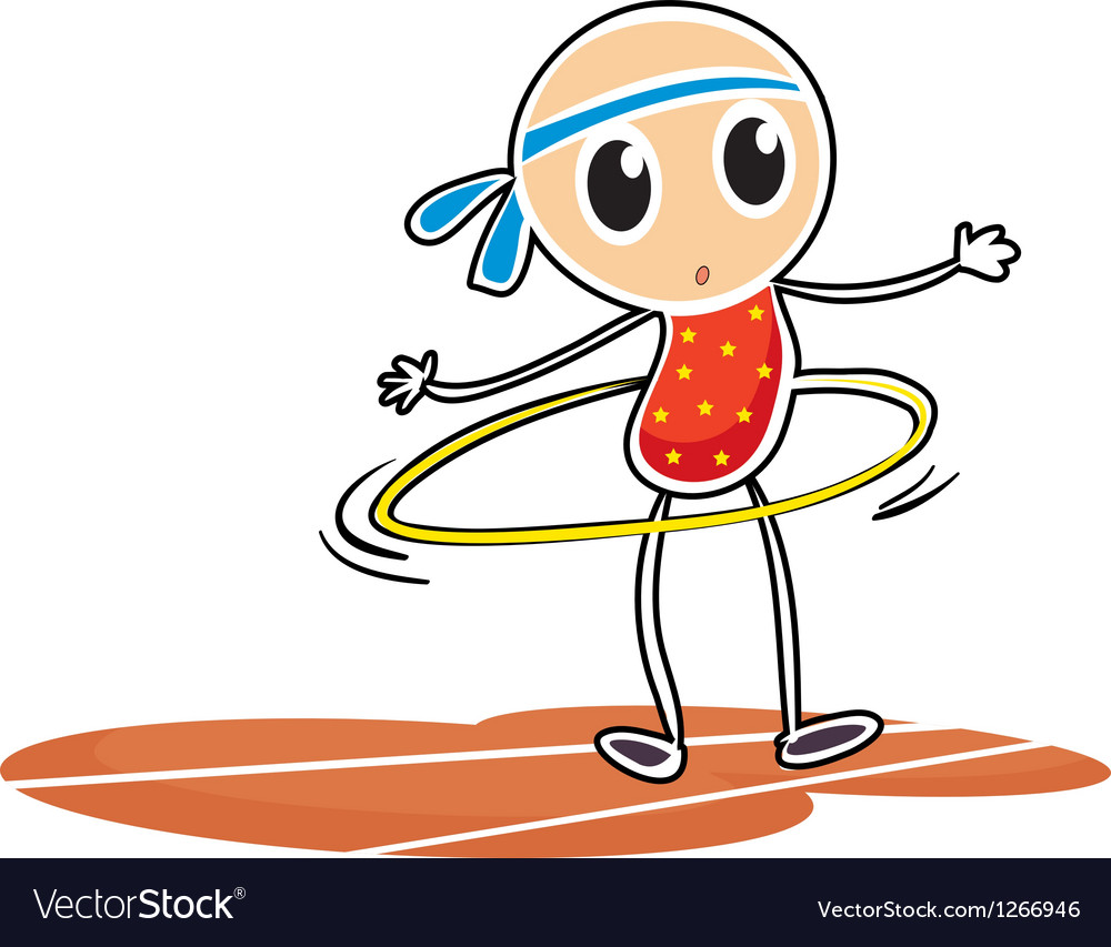 A sketch of a young girl with a hula hoop vector image