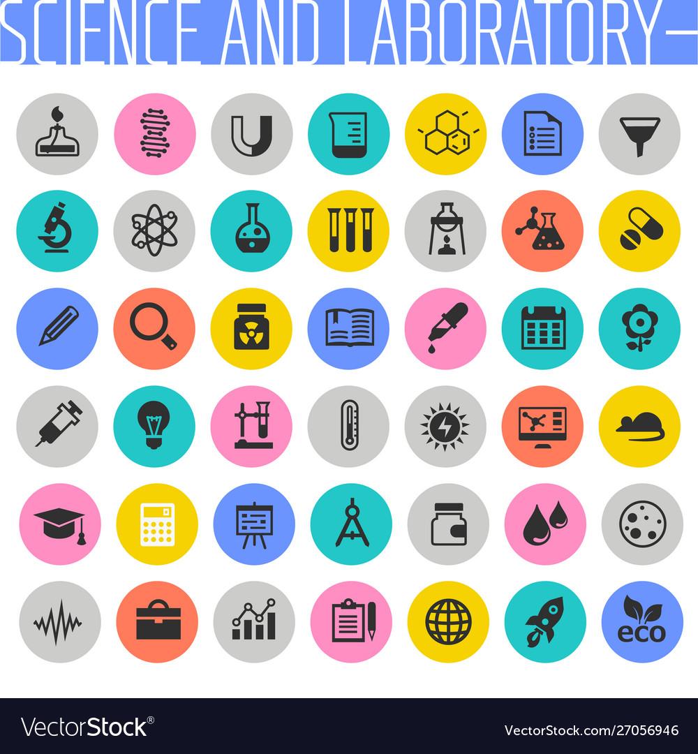 Big science and laboratory icon set trendy flat