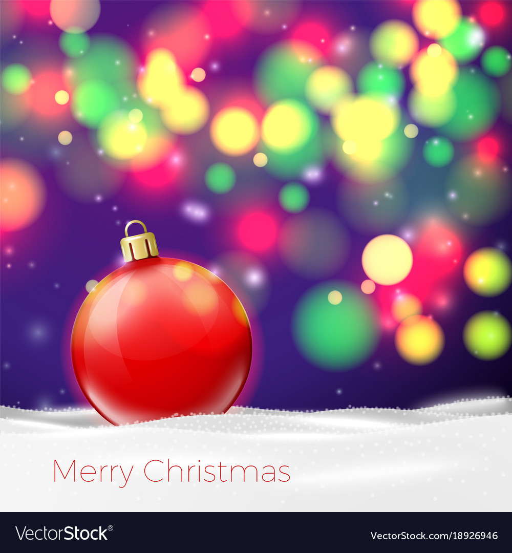 Christmas poster template with red ball Royalty Free Vector