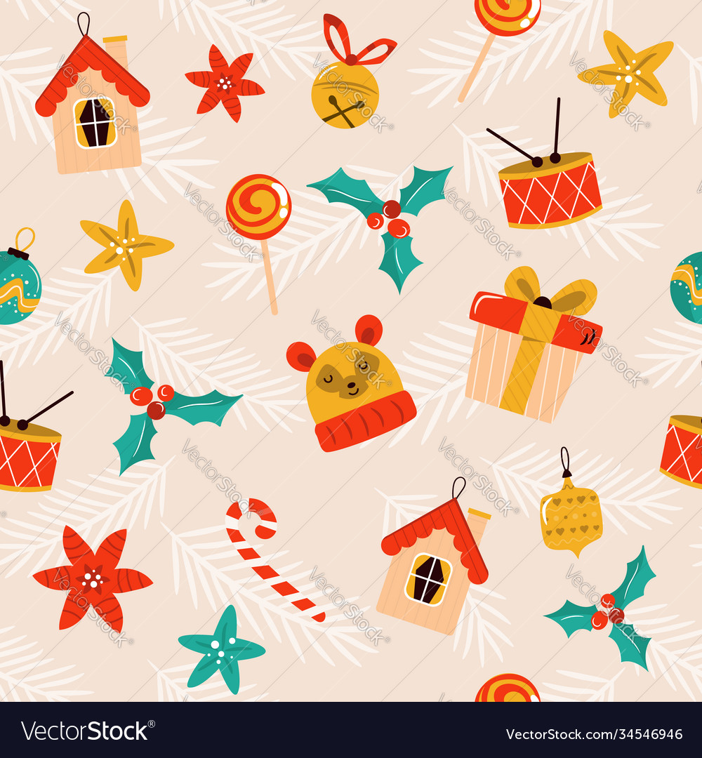 Christmas seamless pattern with festive symbols