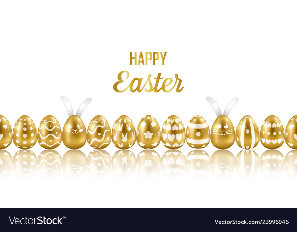 Easter gold eggs and rabbits horizon seamless web
