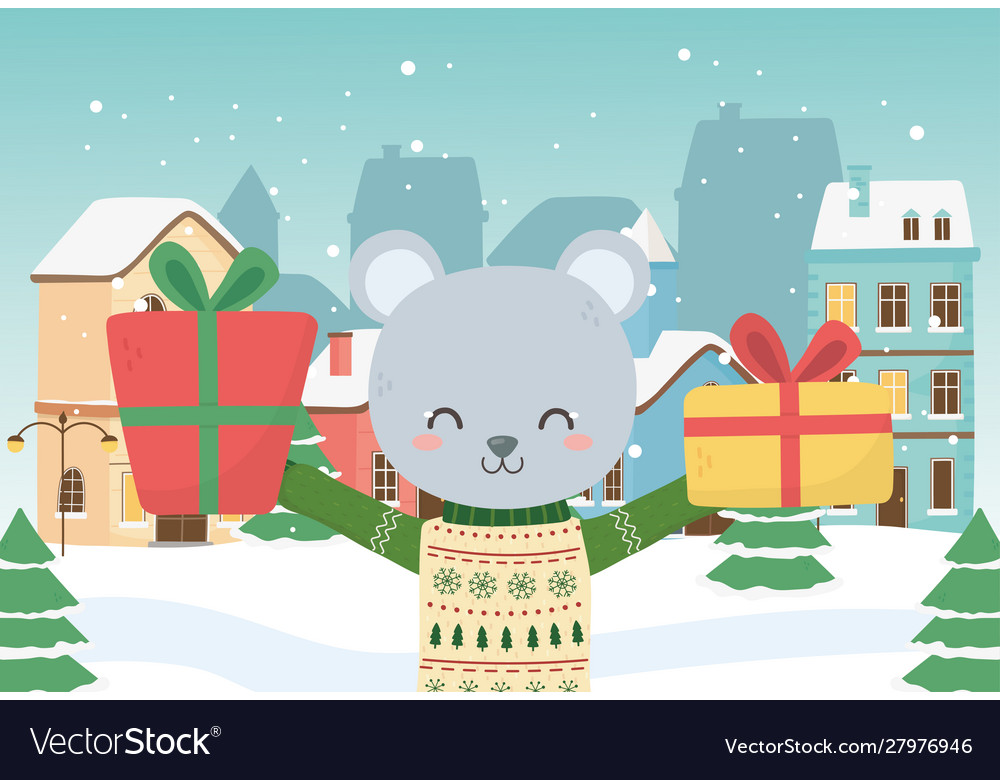 Merry christmas celebration cute bear with sweater