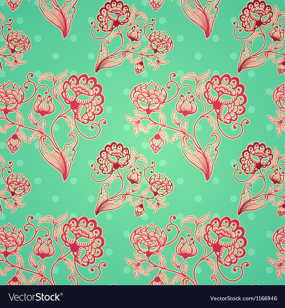Retro seamless background with stylized flowers vector image