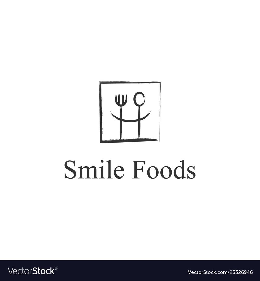 Smile restaurant food logo design inspiration
