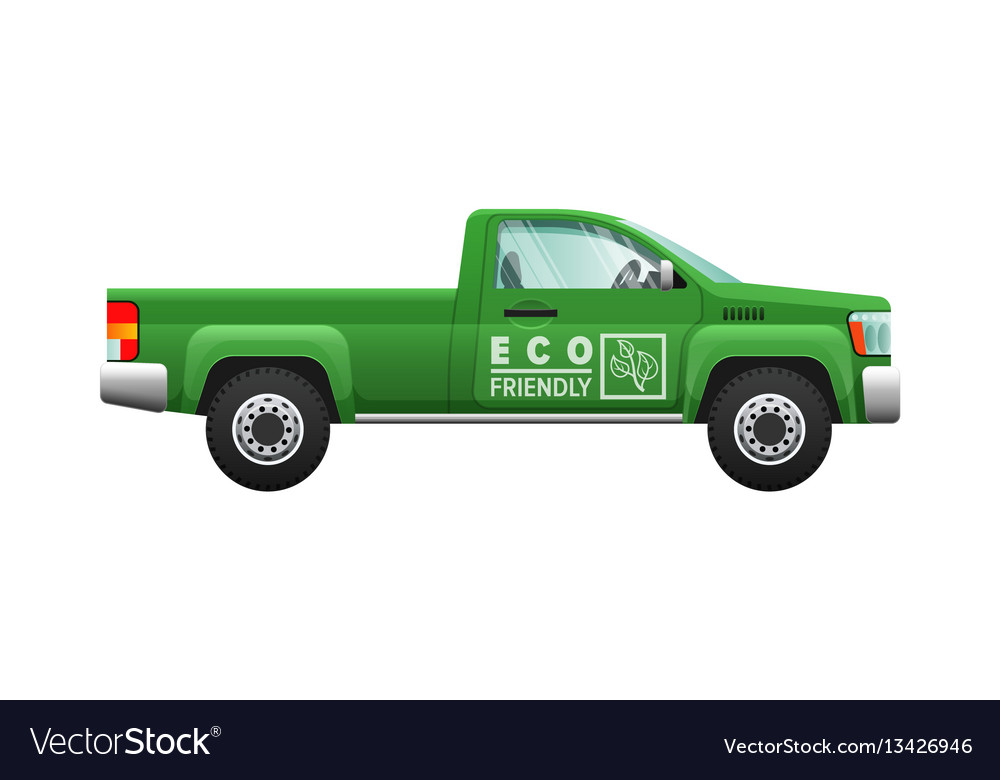 Transport isolated classic green car eco pickup