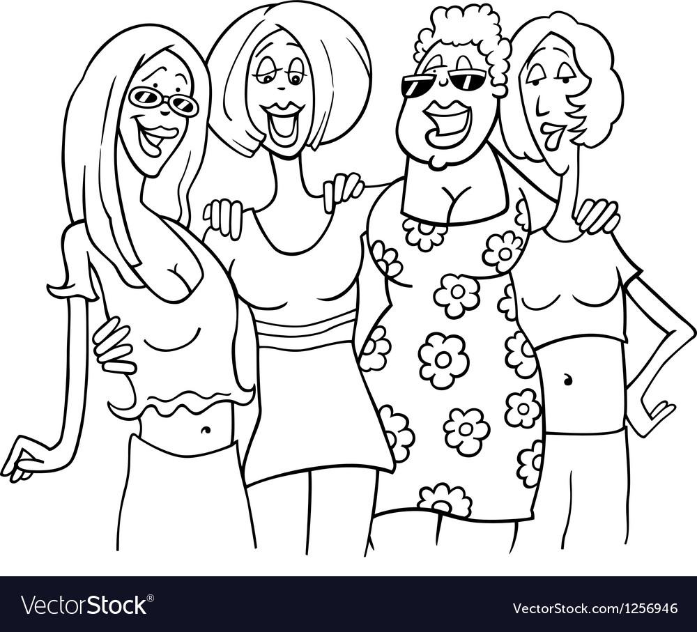Women friends cartoon vector image