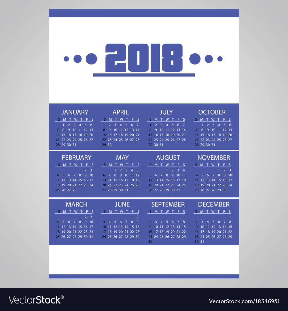2018 simple business blue wall calendar with