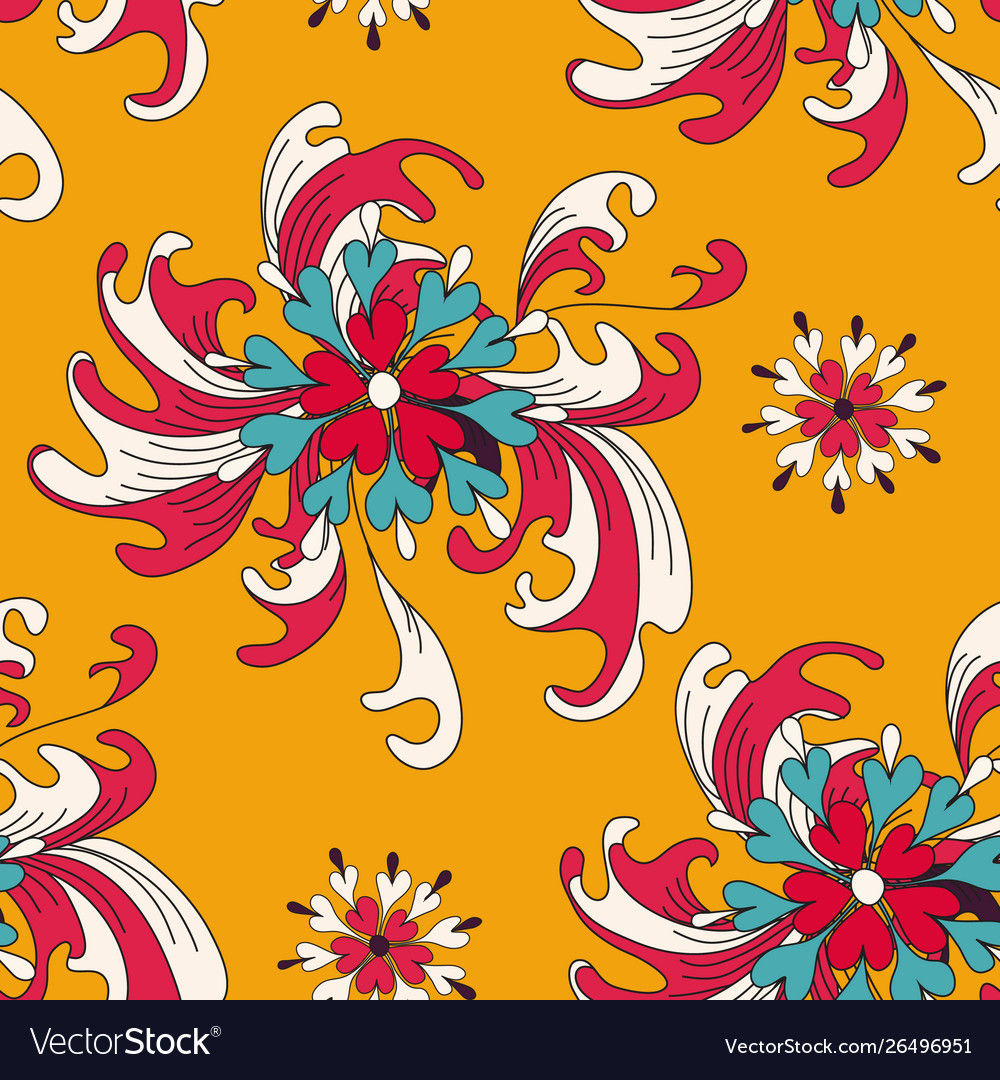 Abstract flowers on an orange background seamless