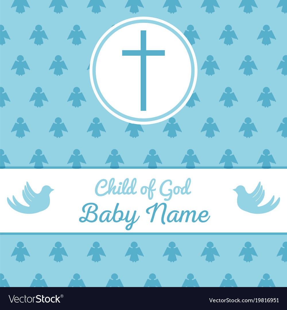 Baptism Invitation Template Royalty Free Vector Image