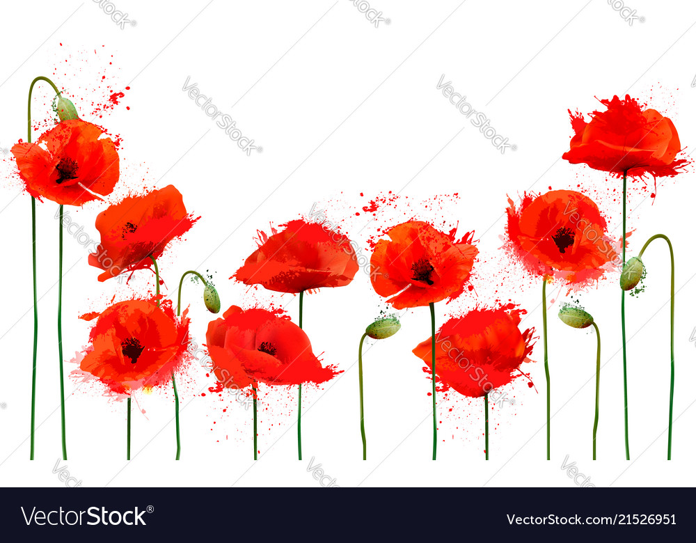 Beautiful abstract background with red poppies