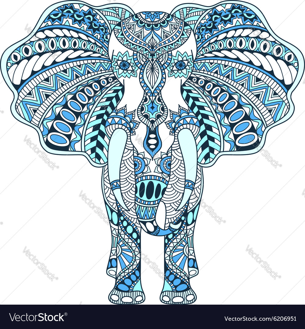 Blue decorated Indian Elephant