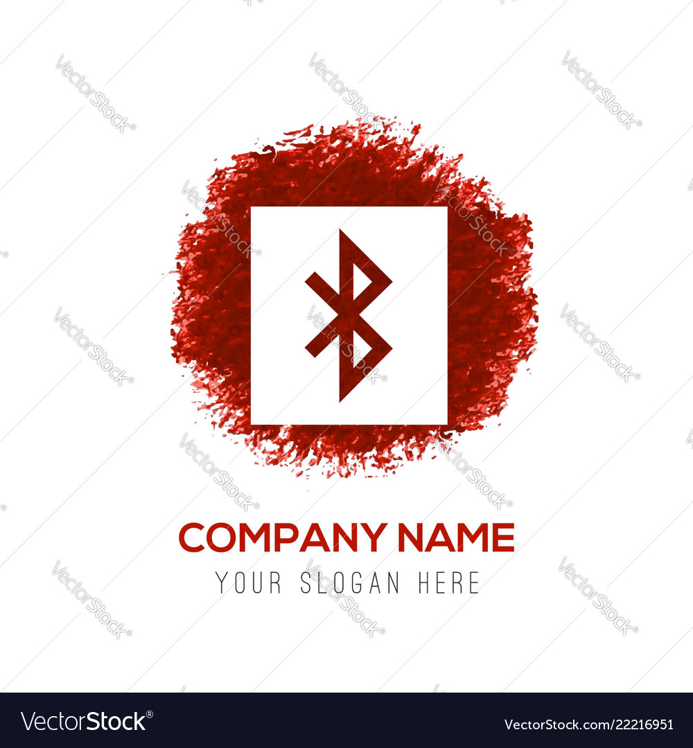Bluetooth Connection Icon Red Watercolor Circle Vector Image