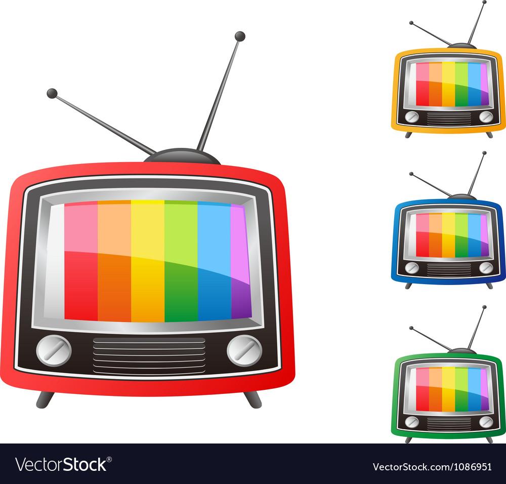 Color retro tv vector image