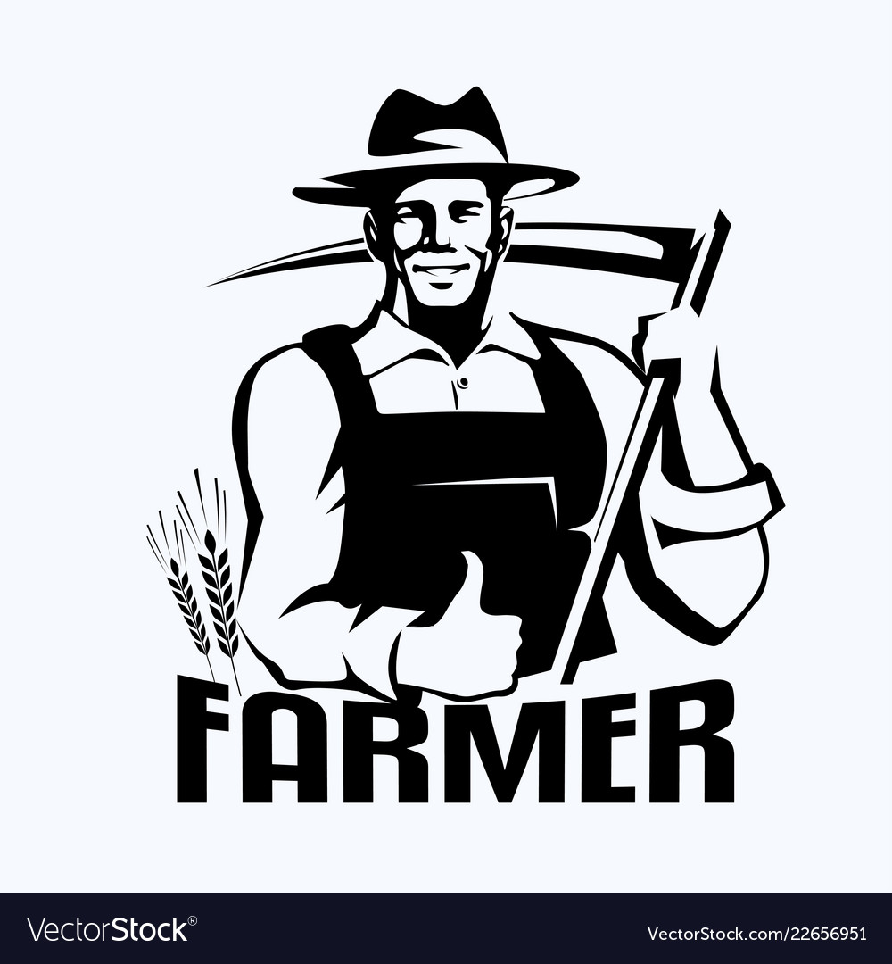 Farmer stylized portrait organic products logo