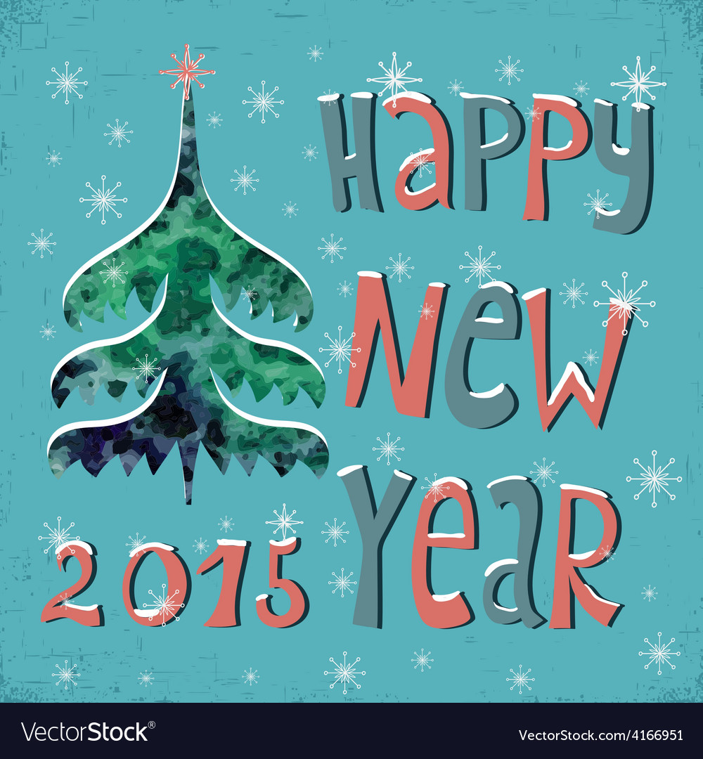 Happy New Year Greeting Card with watercolor vector image