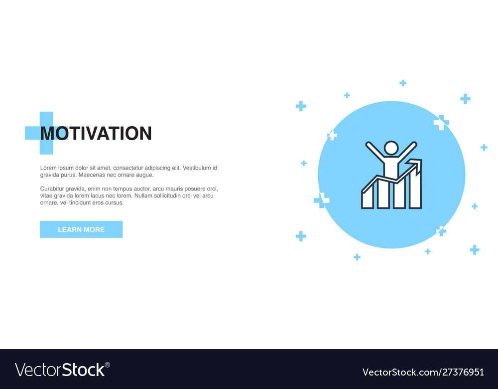Motivation icon banner outline template concept