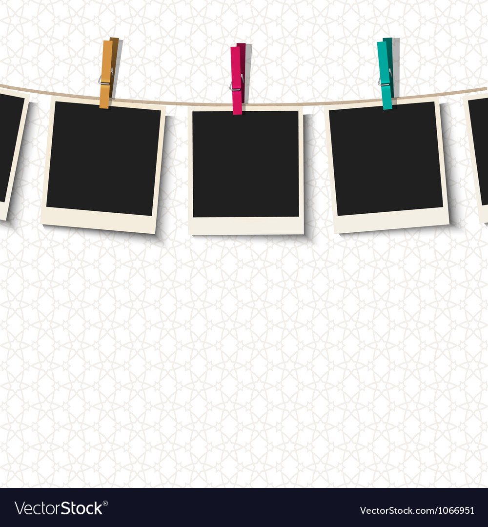 Photo Frames with clothespins Royalty Free Vector Image