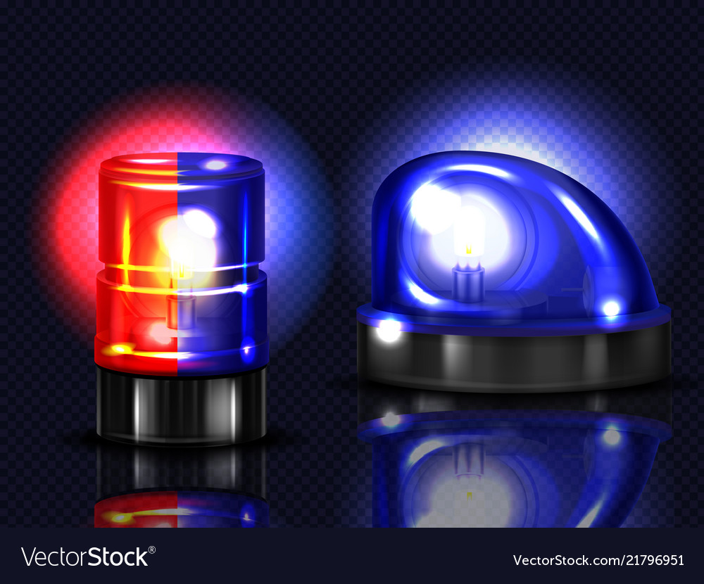 Realistic red blue flashers emergency