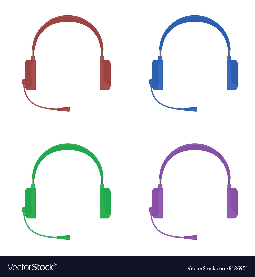 Set of color headphones with
