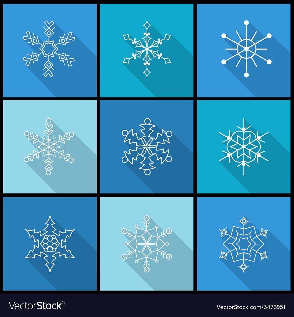 Set of nine snowflake flat icons