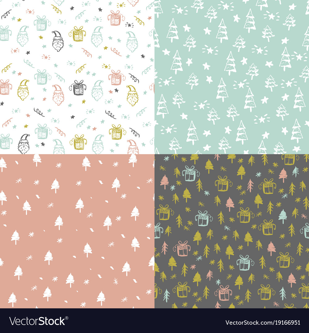 Set of seamless pattern with christmas elements