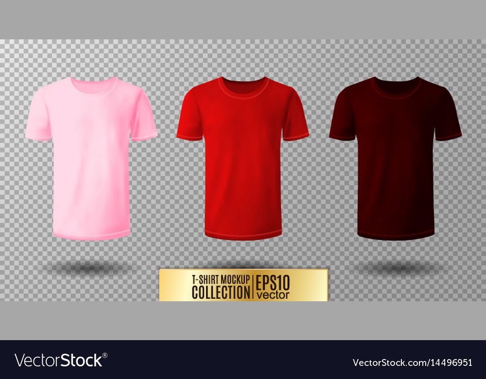 Shirt Mock Up Set T Shirt Template Pink Red And Vector Image