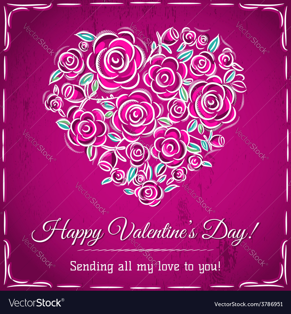 Valentine card with heart of flowers
