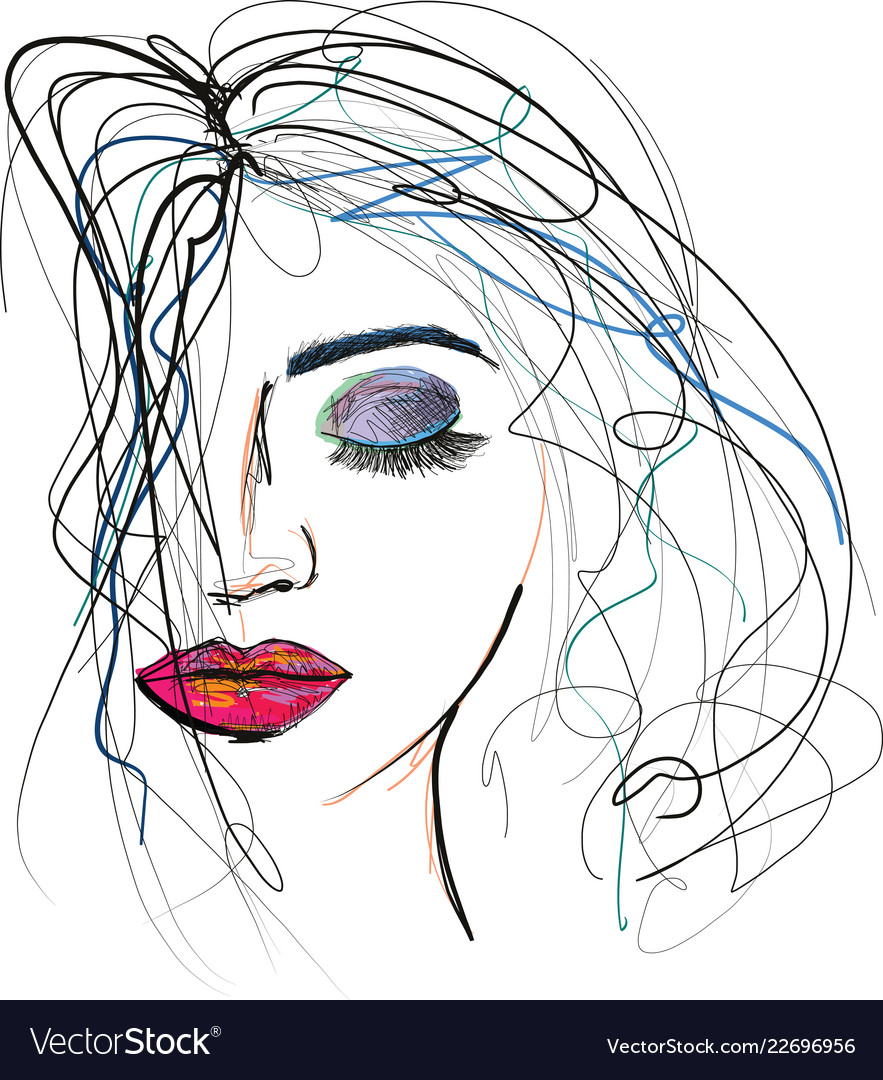 Beautful woman sketch with messy hair