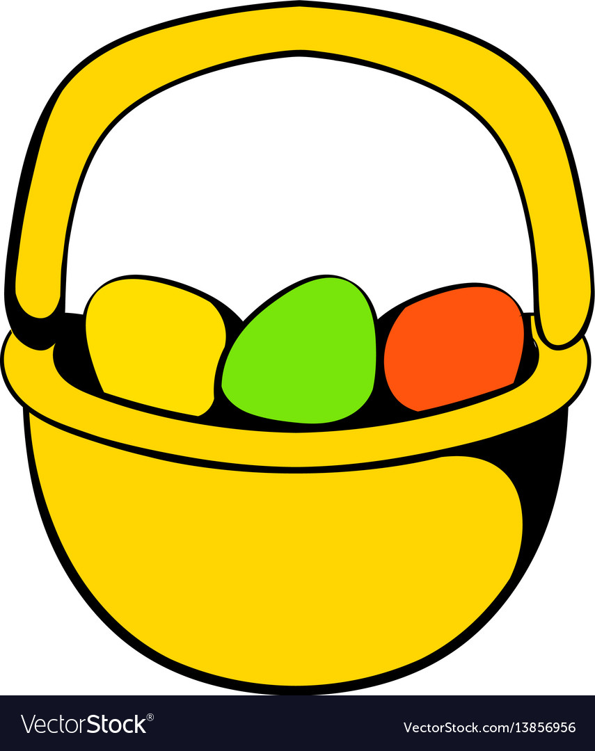 Colorful easter eggs in the basket icon