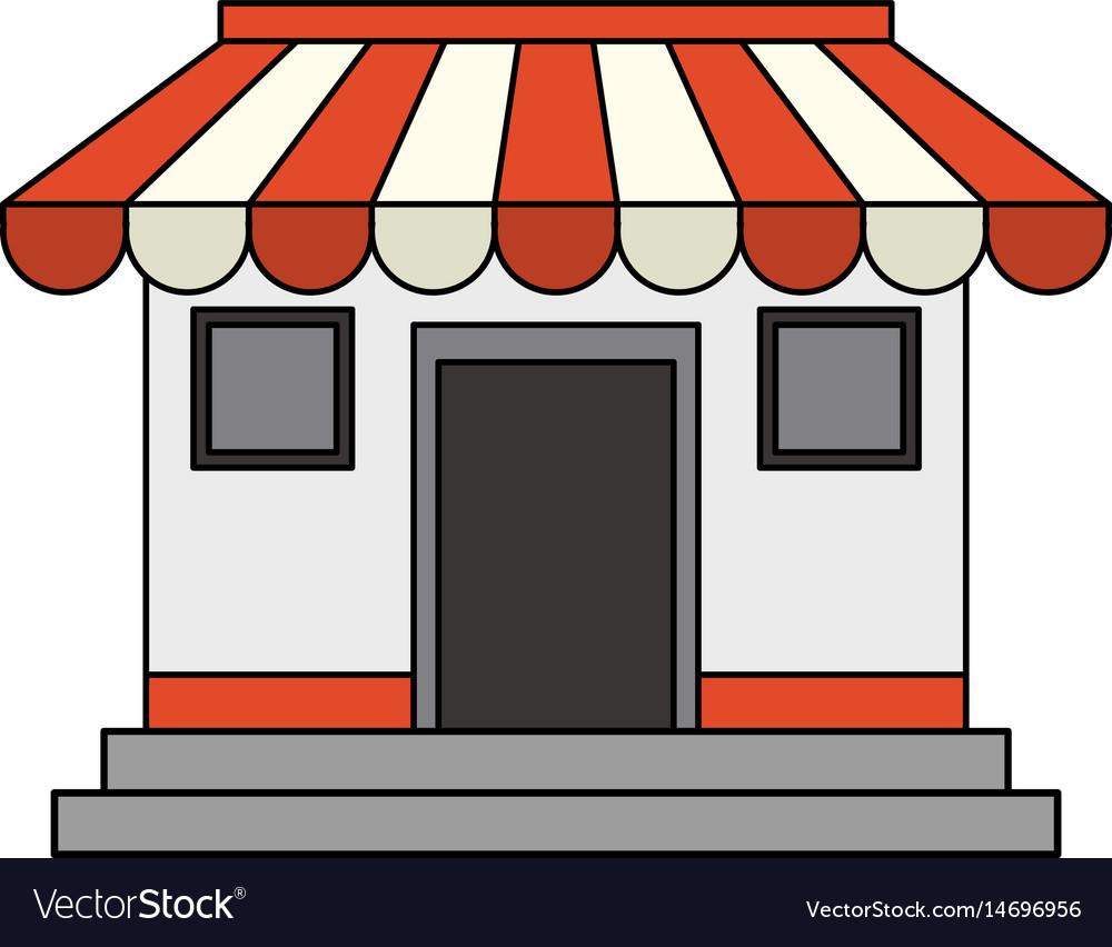 Colorful image cartoon facade shop store