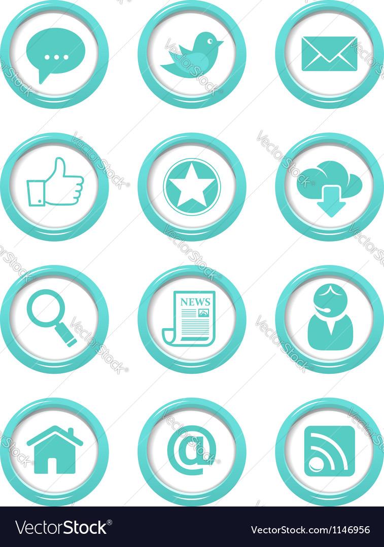 Communication buttons blue set