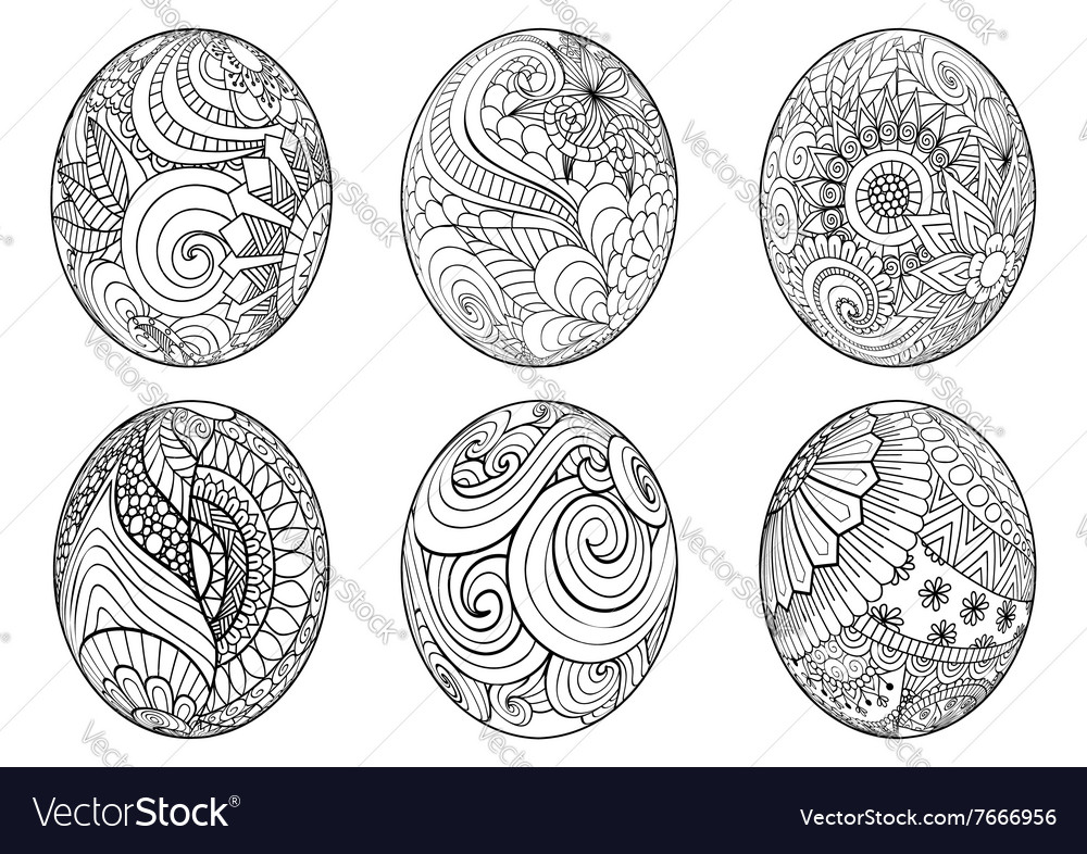 Entangle easter eggs for coloring book for adult Vector Image