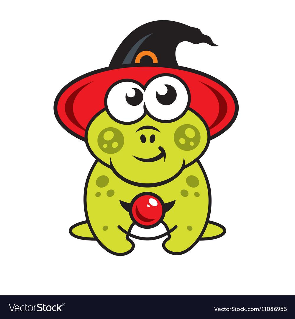 Halloween frog in witch hat Cartoon