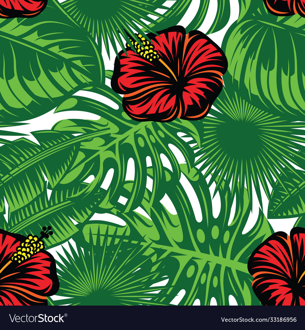 Seamless pattern with colored tropical leaves and