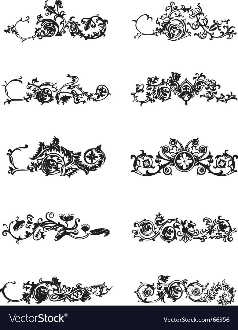 Set of black decorative elements