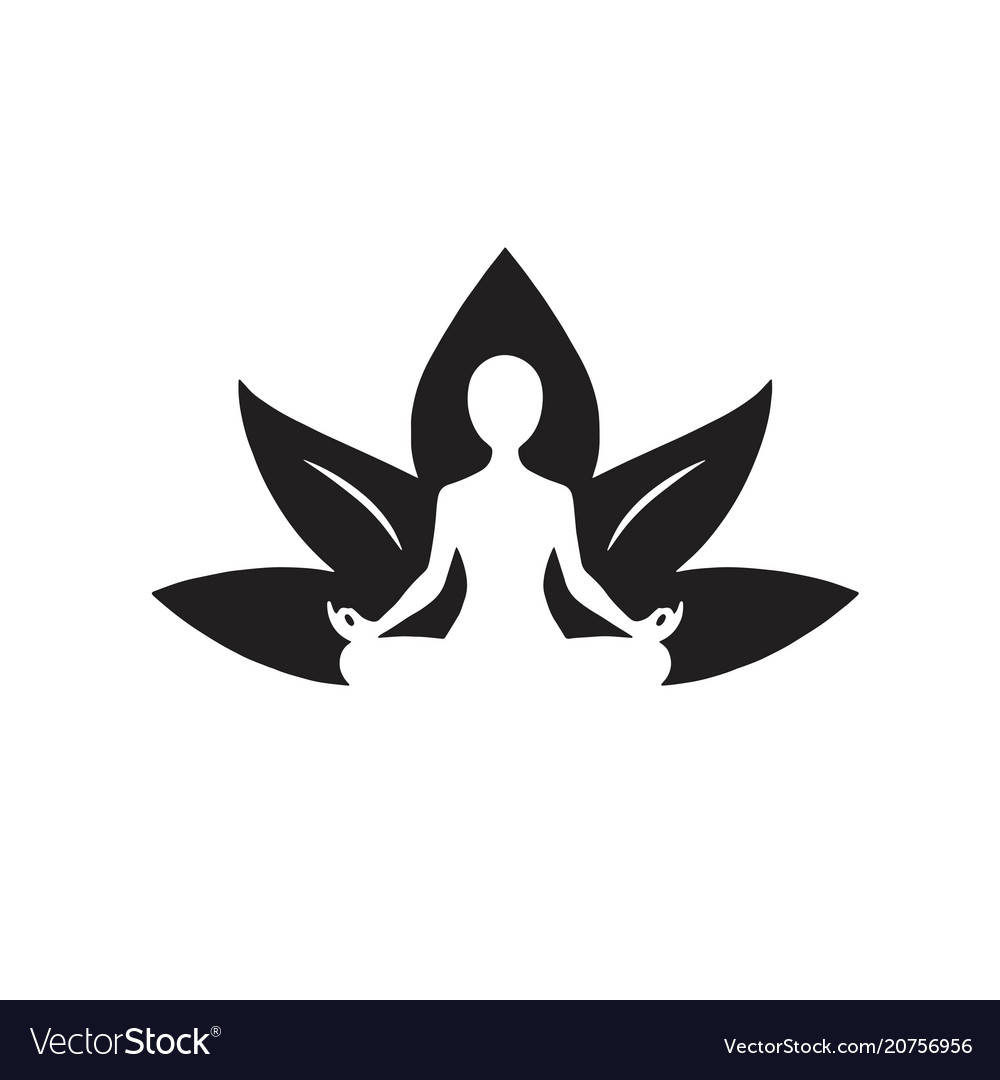 Yoga lotus icon black and white drawing
