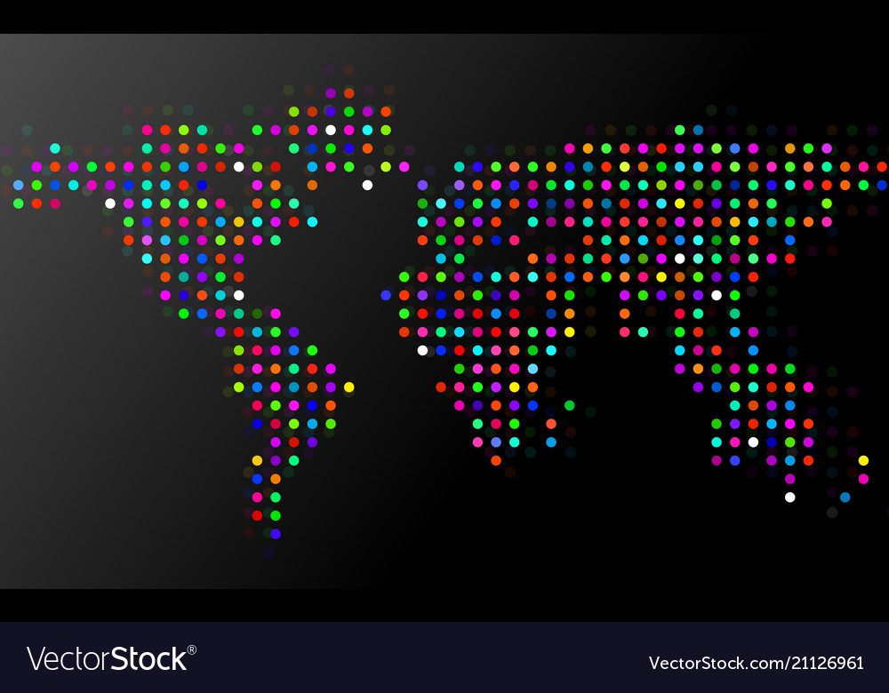 Abstract colorful world map of dots