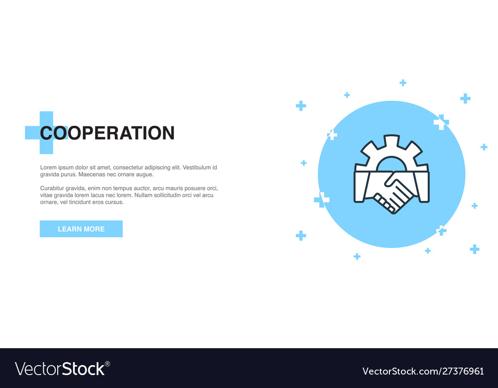 Cooperation icon banner outline template concept